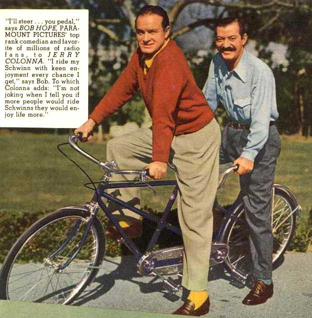 bob hope on a schwinn bike