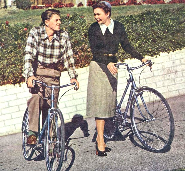 ronald reagan and wife on 1946 schwinn continentals