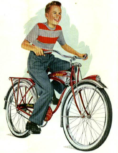 Image result for 1950s kid  riding  bicycle