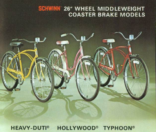 1977 schwinn heavy duti, hollywood and typhoon